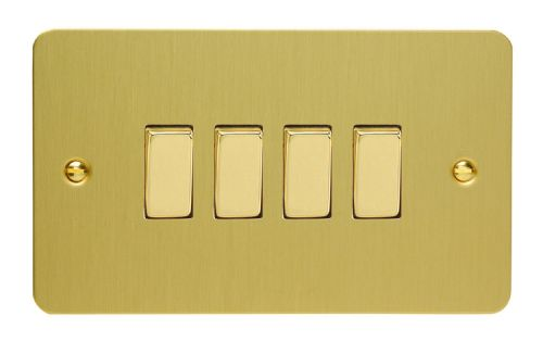 Varilight XFB9D Ultraflat Brushed Brass 4 Gang 10A 1 or 2 Way Rocker Light Switch
